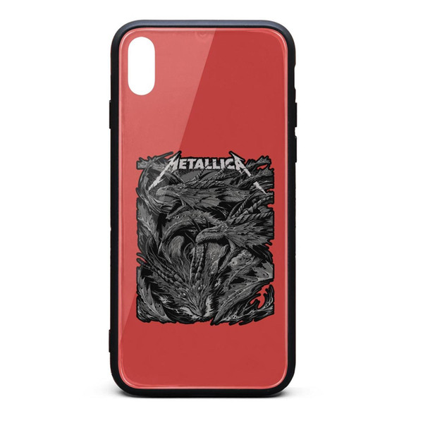 IPhone X Case,iPhone XS Case Metallica Dragon dark King of metal 9H Tempered Glass Back Cover TPU Bumper Drop Protection Phone Case