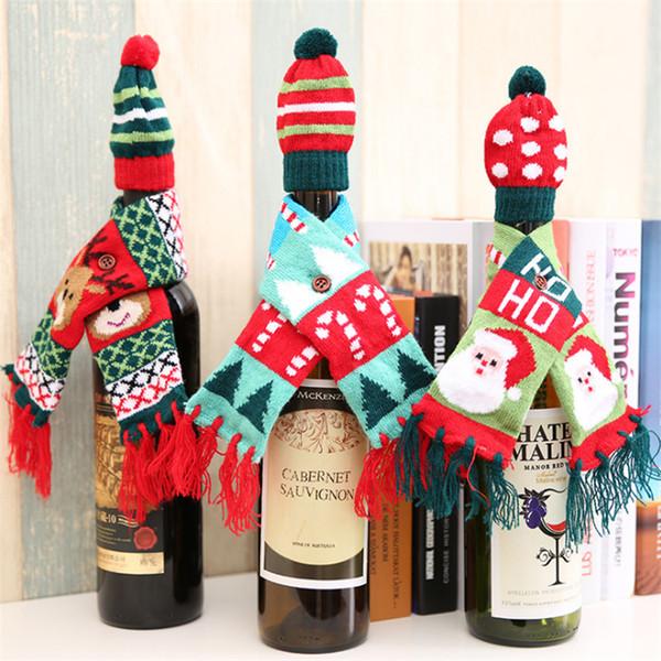 Weihnachtswein Flaschendekorationen Waren 3 Arten Weihnachtsrotwein Flasche gestrickter Schal + Hut Satz mit 2 Stücken Rotwein Flaschendekoration JY419