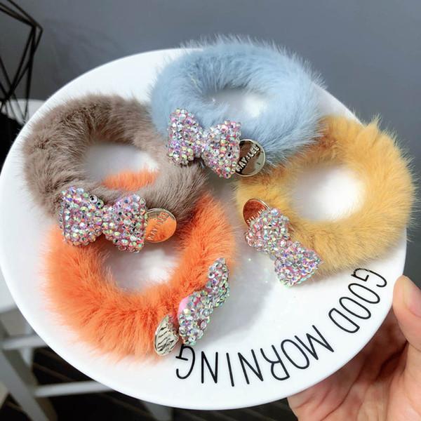 Мода бутик девушки резинки для волос мех женщины резинки для волос Луки женщины hairbands дизайнер ленты для волос аксессуары для волос для женщин A9497