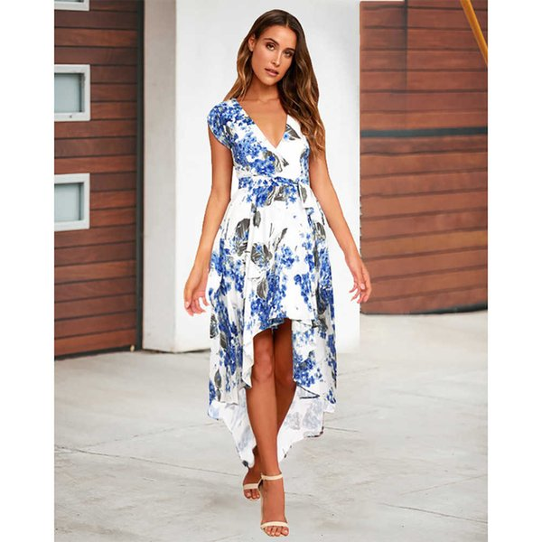 Fashion Women Printed Dresses Casual Women Summer Holiday Dresses 2019 New Arrival Womens Long Skirts Size S-2XL