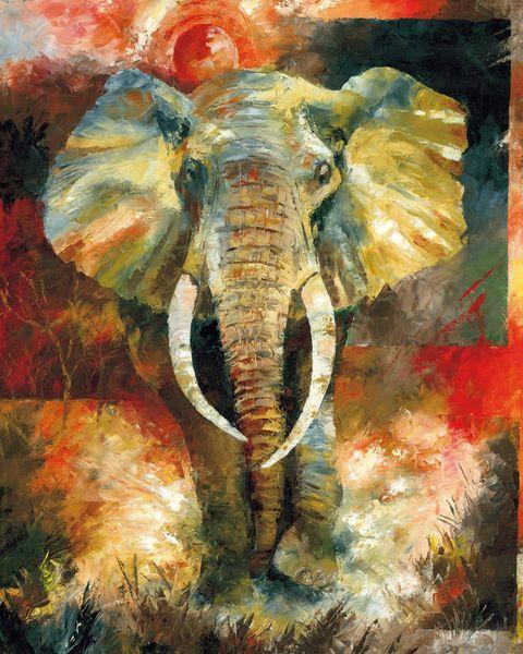 Cartoon Art The Elephant,Oil Painting Reproduction High Quality Giclee Print on Canvas Modern Home Art Decor