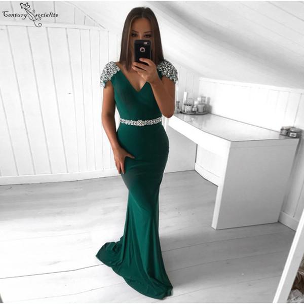 Yeşil Mermaid Abiye Uzun 2019 Cap Kollu Boncuklu Payetli Fermuar Geri Örgün Törenlerinde Gelinlik Modelleri Robe De Soiree Ucuz