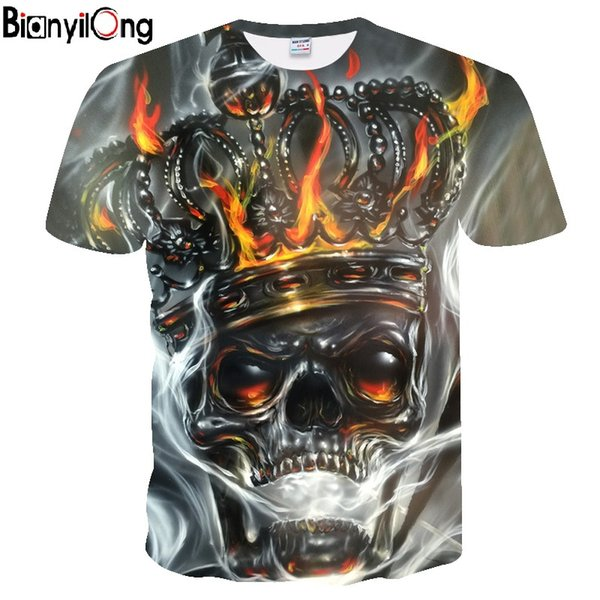 BIANYILONG 2019 YENI T-shirt Erkekler Kafatası T Gömlek Metal taç Kafatası Baskı Tshirt Baskılı Mens Pamuk Tees Tops Siyah Giysi Retro