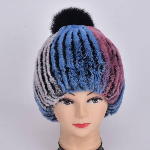 Winter Natural Rex Rabbit Fur Hat Женщины Elasitc Теплый ручной работы Вязаная Fur Real Caps Big Fox Fur Ball Шапочки Головной убор