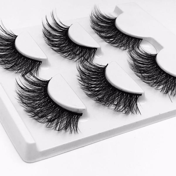 3 Pairs Handmade False Eyelashes Wispy Crisscross Lashes With Eyelashes Glue 1ml Natural Long Natural Eyelash Women Makeup Tools