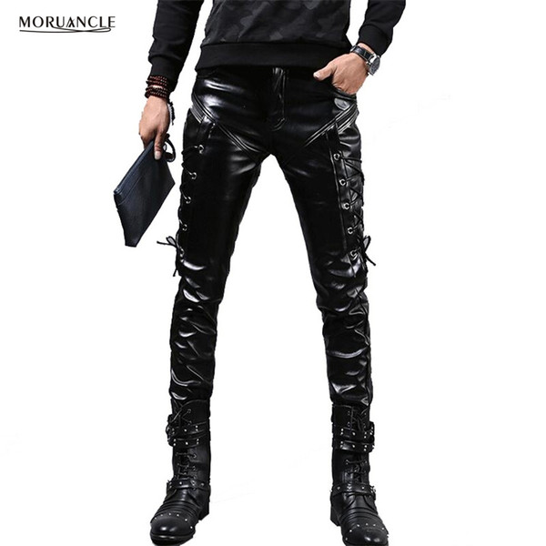 Wholesale- MORUANCLE New Winter Mens Skinny Biker Leather Pants Fashion Faux Leather Motorcycle Trousers For Male Stage Club Wear