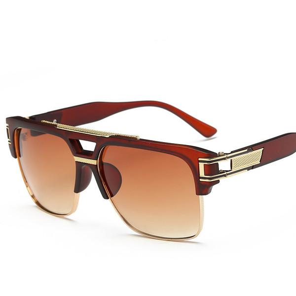 Gafas de sol retro de lujo para hombre para mujer Diseño de moda Semi-sin montura Gafas Uv Protección Lente Popular Sunglass Para Beach Street