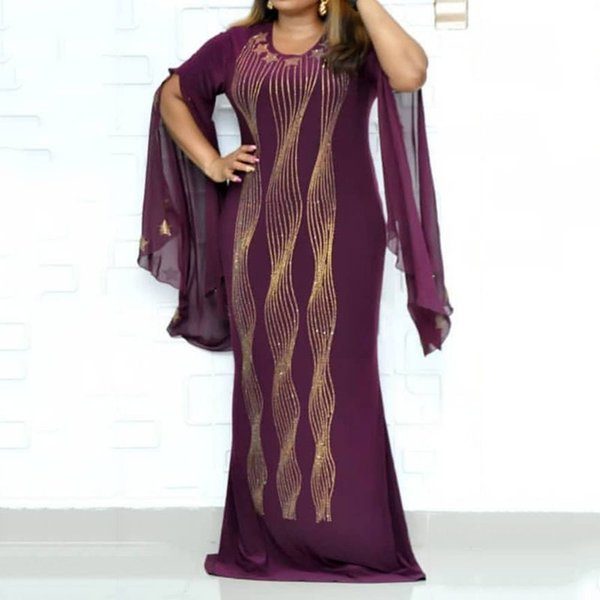 Casual Plus Size Party Blue Sexy Club African Style Summer Women Long Dresses Bodycon Flare Sleeve Split Star Female Maxi Dress