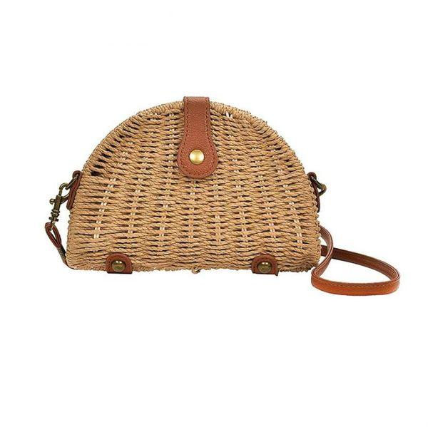 New fashion woman straw bags semi-circle Shoulder Bag feminina Rattan handbag lady casual crochet Summer Beach Bag
