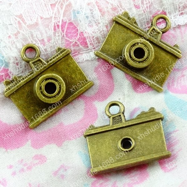 40pcs 21*23MM Antique bronze tibetan alloy camera charms for bracelet vintage metal pendant for earring handmade DIY jewelry making