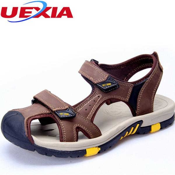 Sommer Casual Männer Schuhe Strand Sandalen Leder Zapatos Outdoor Neue Anti-kollision Toe Wasserdichte Sport Closed Toe Verschleißfeste