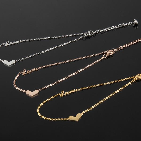 Stainless steel ankle bracelet cheville enkelbandje, cute love letters heart anklets for women barefoot crystal jewellery