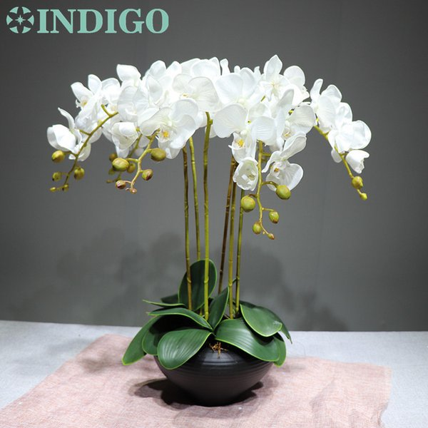 9pcs/set Flower Arrangment Orchids With Leaves Real Touch Flower Table Wedding Party Fake Flower Decorative Event Free Shipping J190710