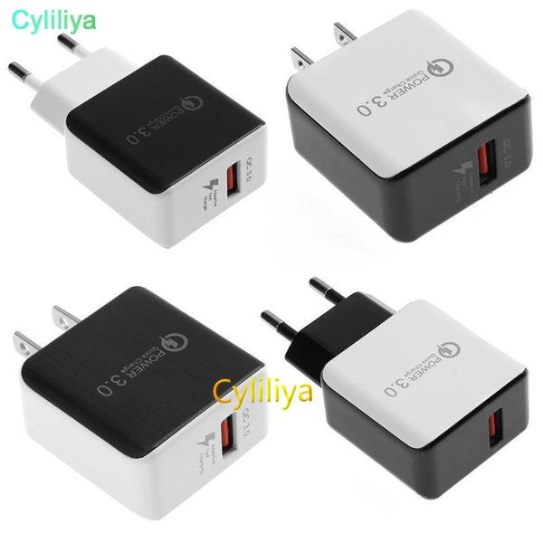 QC 3.0 Fast Wall Charger USB Quick Charge 5V 3A 9V 2A Travel Power Adapter Fast Charging US EU Plug for iPhone 7 8 X Samsung Huawei Phone