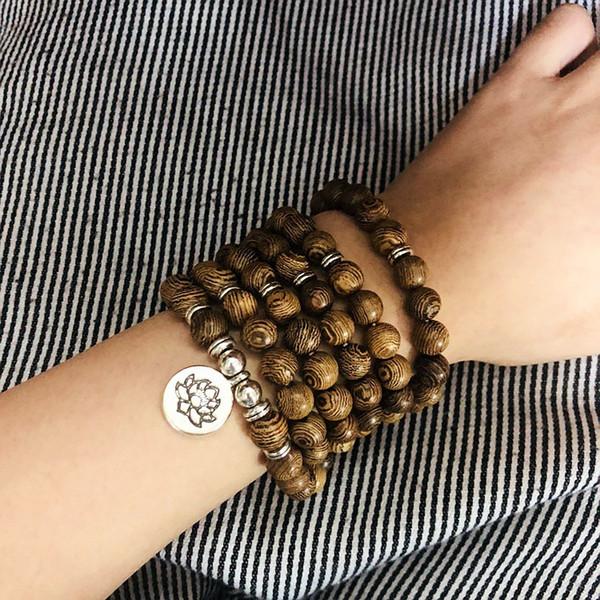 Дерево из бисера камень лотоса Будды спасательный круг Yoga Упругие браслет ожерелье ювелирных изделий Универсальные творческие браслеты для мужчин и женщин Wholesal S023