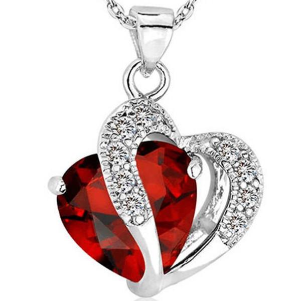 Europa und die Vereinigten Staaten Natürliche purpurrote koreanische Version der populären Halskette weiblichen schönen Herzkristallanhängerhalskette