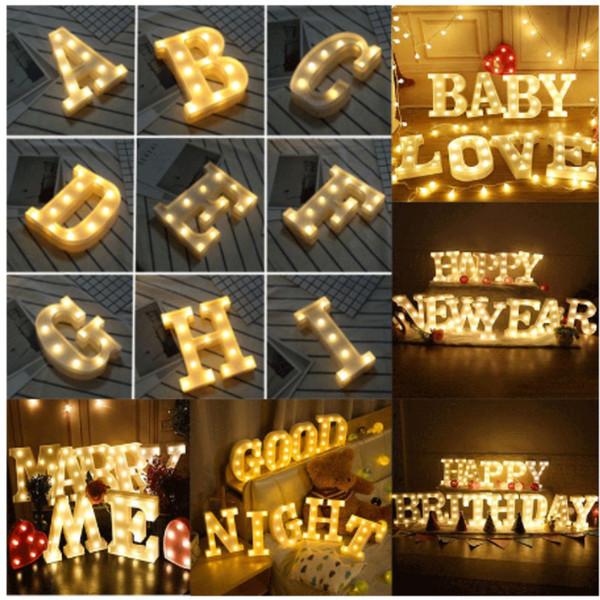Led A-Z Alfabe Mektubu Işık Duvar Asılı Gece Işıkları Lamba Düğün Ev Dekorasyonu Için WX9-1323