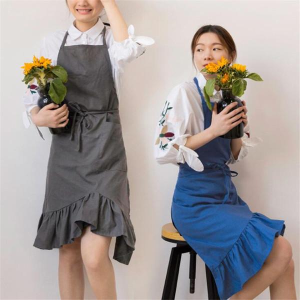 Grembiule da cucina giapponese arruffato grembiule da cucina in cotone per uso domestico e lino pieghettato a farfalla a farfalla da donna