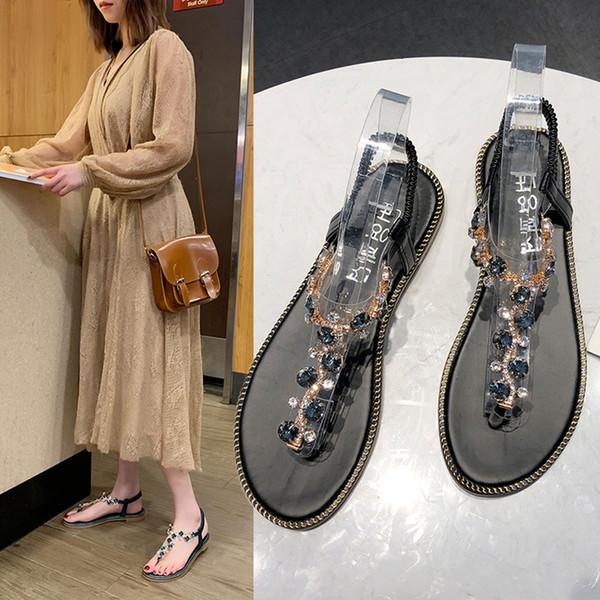 MUQGEW Sandalias de moda para mujer Sandalias de tanga T-Type Open Toe Rhinestone Flat Tobil Bottom Summer Roman Shoes Mujer