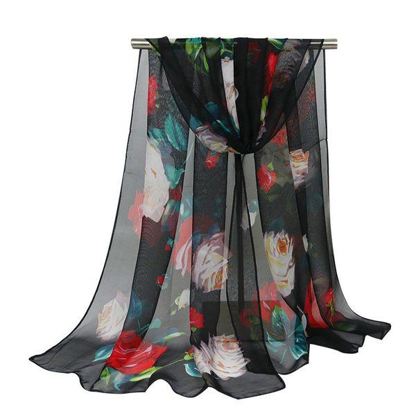 Fashion Floral Print Plain Weave Winter Scarf Women Georgette Simulation Silk Thin Long Scarves Warm Sunscreen Shawl