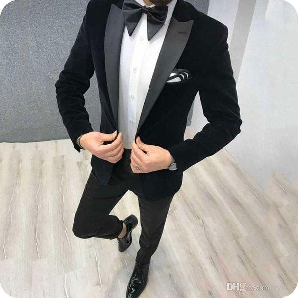 2019 Son Coat Pant Siyah Kadife Erkekler Suit Dar Kesim 2 adet Erkekler Düğün Tasarımları Damat Parti Smokin Blazer ile Suits