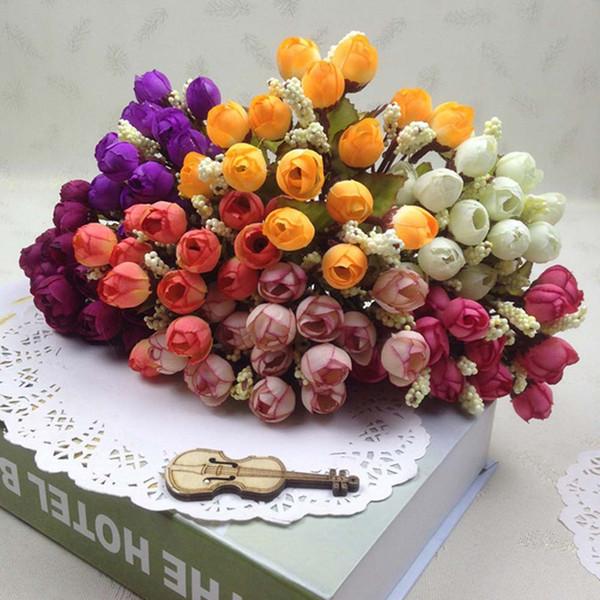 Outono 15 Cabeças / buquê Pequeno Bud Roses Bract Simulação Flores De Seda Rosa Flores Decorativas Casa Decorações 24 cm
