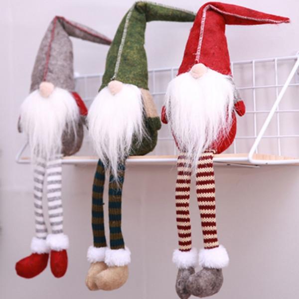 3 PCS Boneca de Natal Decoração Bonito Sentado Longo-pernas Elf Festival de Ano Novo Festa de Jantar de Natal 2020 Decorações para Casa