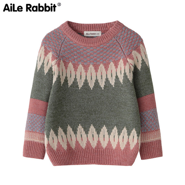 best selling AiLe Rabbit autumn and winter warm children's clothing long-sleeved sweater boys and girls fashion new year new love tops