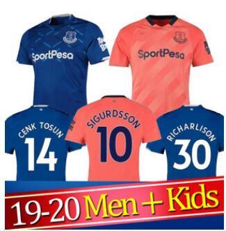 19 20 Everton camisa de futebol SIGURDSSON RICHARLISON ANDRE GOMES WALCOTT 2019 2020 Everton Away Third Football Shirts define uniforms MAN + Kids