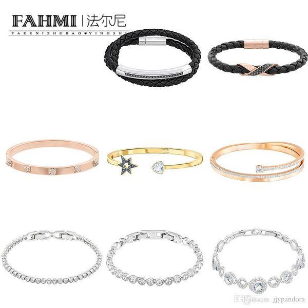FAHMI SWA High Quality Crystal Simple Women's Bracelet Rose Gold Fashion Star Bangle Black Exquisite Men's Leather Hand Strap