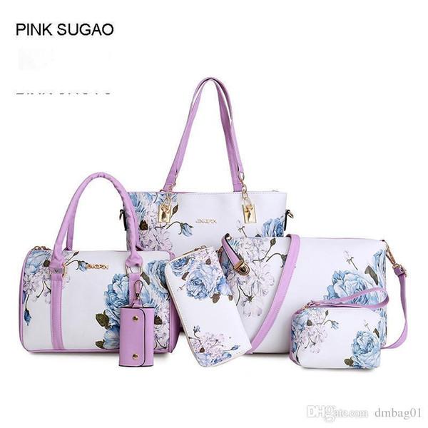 Pink Sugao Designer Handbags Print Flower Women Nice Pop Style 6 Pcs/set 5color Pu Leather Sac À Main Tote Bag Crossbody Shoulder Bag Purse