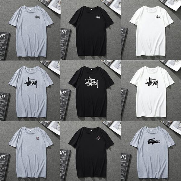Yaz t shirt erkek tasarımcı Siyah t shirt Women2019 Yaz Erkek Tshirt Siyah Beyaz Mavi Gri Ekip Boyun Tişört Mektuplar Baskı Kalça pop Rapçi