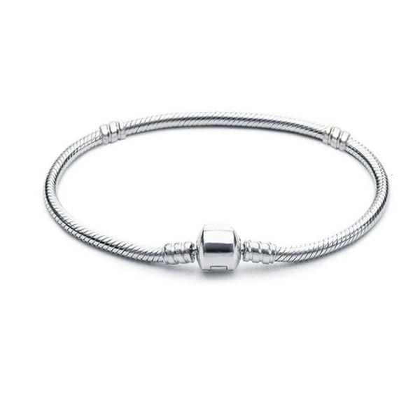 top popular 1pcs Drop Shipping Silver Plated Bracelets Women Snake Chain Charm Beads for pandora Bangle Bracelet Children Gift 2021