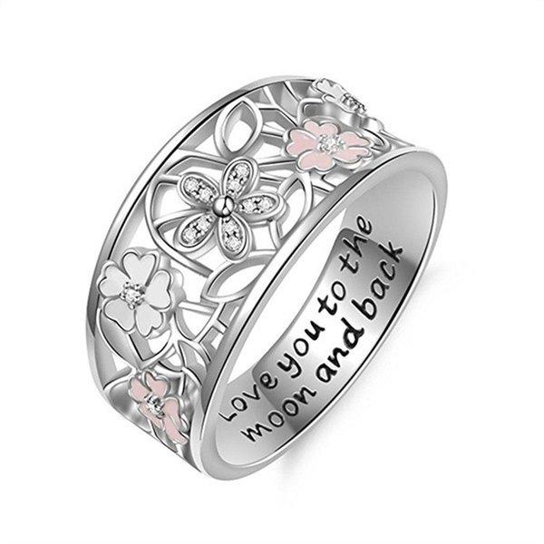 Tibetan Silver Daisy Cherry Blossom Rings for Women Girls Gift Adjustable Finger Ring Engagement Wedding Rings JZ449