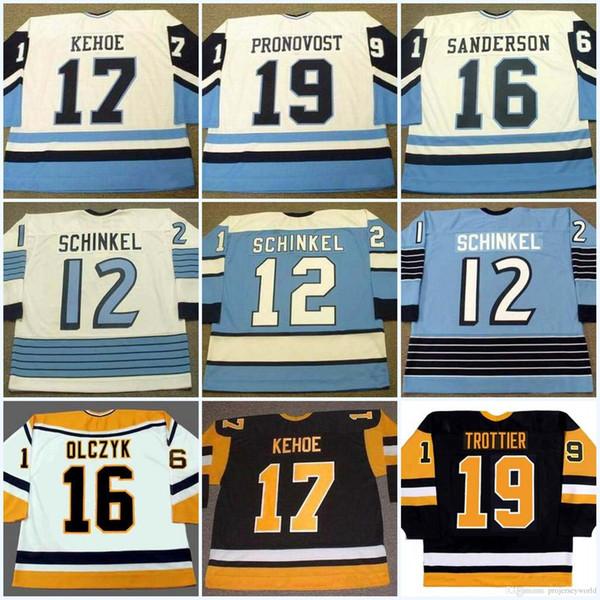 Mens 12 BOB ERREY 1992 12 KEN SCHINKEL ED OLCZYK 16 JAY CAUFIELD 17 RICK KEHOE 19 JEAN PRONOVOST Vintage Hockey Jerseys