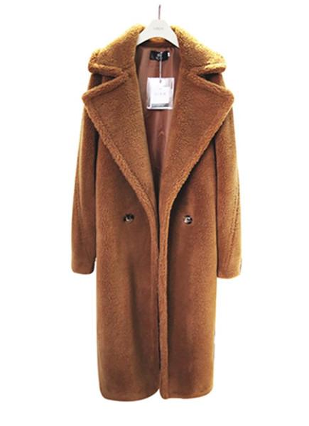 Зимнее длинное пальто из искусственного меха Женские куртки и пальто больших размеров High Street Женское пальто из овечьей шерсти из искусственного меха