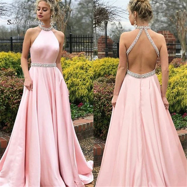 A-line Halter Beads Backless Sweep Prom Dresses Sleeveless Plus Size High End Quality Evening Party Dress Hot Sales