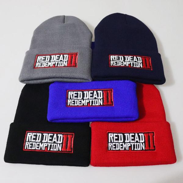 ROUGE DEADR EDEMPTION 2 brodé Bonnet en maille Pull Hip hop laine chaud Chapeau jeu Fan Hat