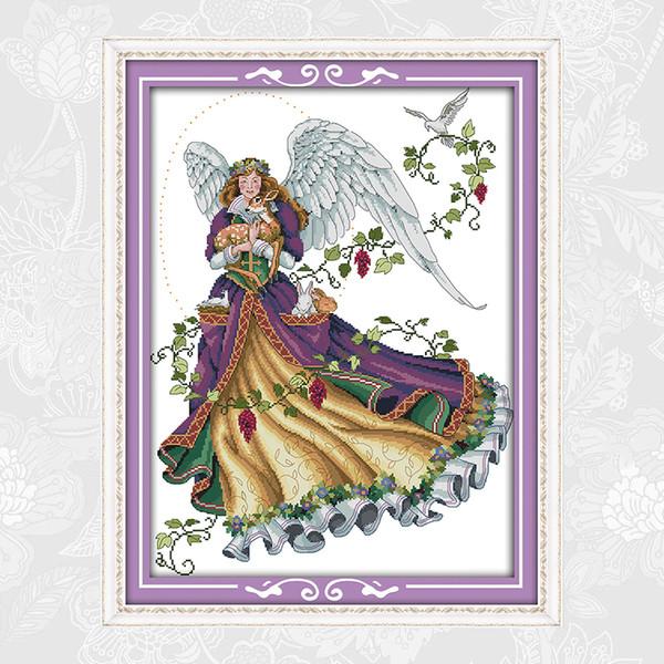 Angel Paintings RA125 Aida Canvas 11CT 14CT Embroidery Needlework Cotton Fabric Cross stitch kits DIY Handmade Crafts Factory Wholesale