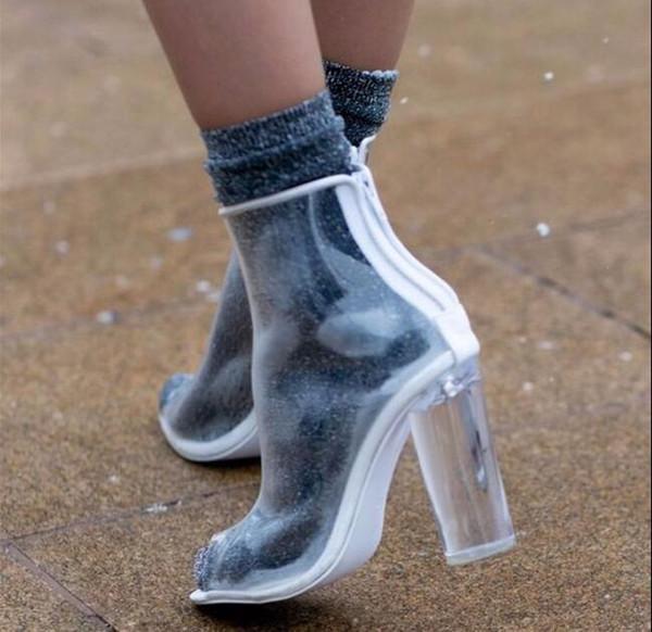 Zapatos Mujer Stivaletti trasparenti in oro bianco Peep Toe Plastica Donna Botas Perspex Lucite 11cm Tacchi alti trasparenti Scarpe Estate