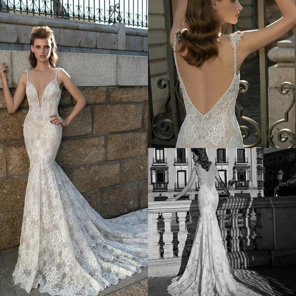 Berta Full Lace Mermaid Wedding Dresses Crystal Beading Plunging V-neck Backless Wedding Gowns Custom Made Long Bridal Dress