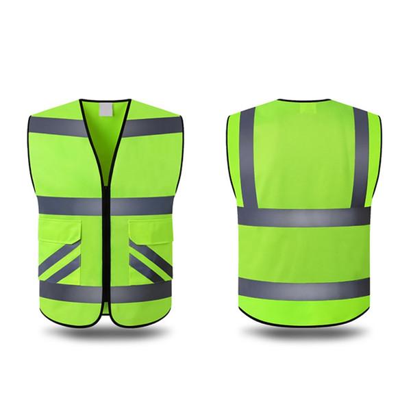 Warnweste High Visibility Multi Pocket Sicherheits-Gang Außenschutz Tank Top Construction Nacht Radfahren Laufen Outer Wea