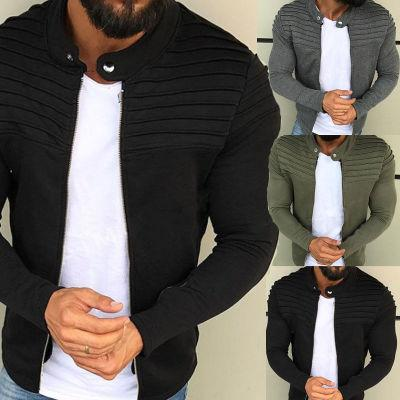 2019 European and American men's solid color striped pleated stitching cardigan sweater plus velvet zipper jacket