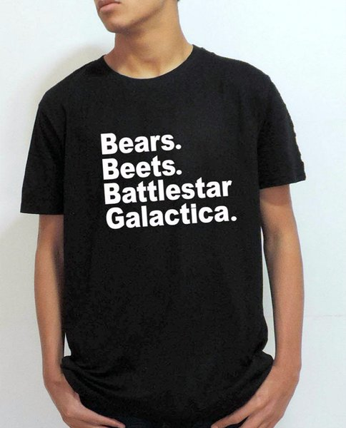 The Office Tv Show Mens T Shirt Bears Beets Battlestar Galactica Letter Print Tops Fashion Wholesale Discount