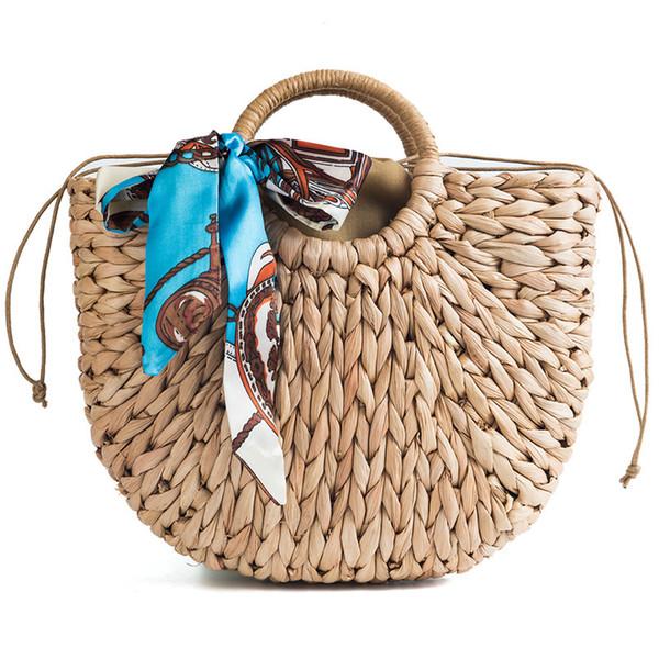 Women Silk scarves Props Straw Bag outdoor travel beach handbags khaki Semicircle Art Beach Bag QQA425