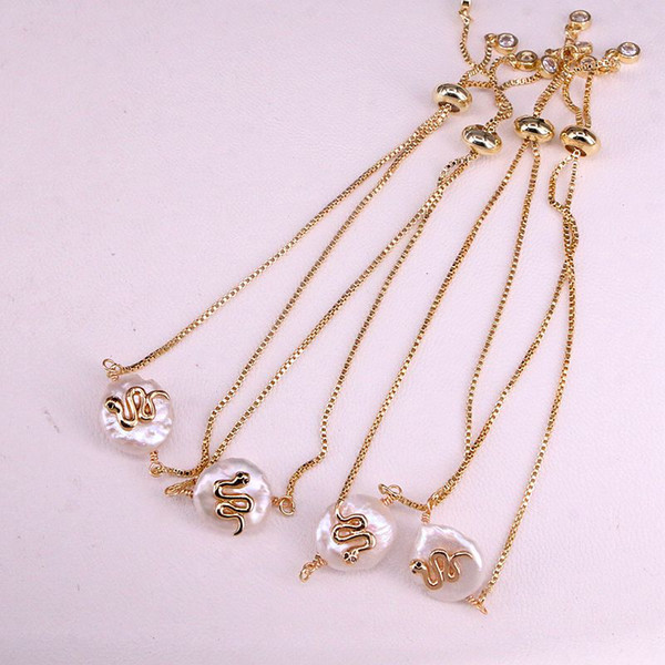 6pcs, natural freshwater pearl and animal snake charm gold chain bracelet women fashion bracelet jewelry