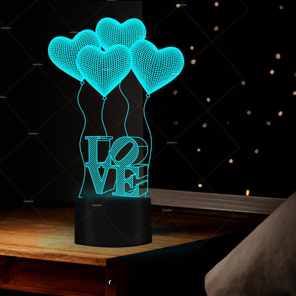 Pop2019 Fs - 2977 Rich Happy Love Balloon Modeling Lover Boxing Things Colorful Led Small Night-light 3d Originality Desk Lamp