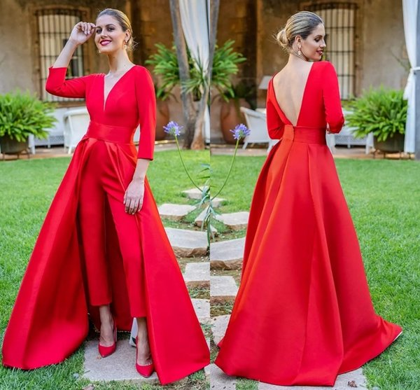 New Red Jumpsuits Prom Dresses 3/4 Long Sleeves V Neck Formal Evening Dresses Party Gowns Cheap Special Occasion Pants DH4272