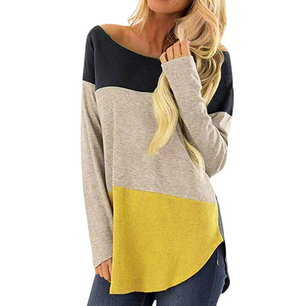 Moda Donna Boho Hippie Casual a righe Mezza manica camicia ampia Top Primavera Autunno Abbigliamento donna Patchwork Top #Y