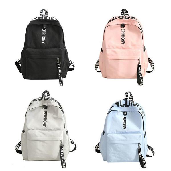 Korean Version Lady Backpack Harajuku Ulzzang Style Versatile Simple Tide For Men Women With ID Bag Mobile Phone Pocket Black